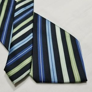STAFFORD Green/Blue/Black/White Striped Tie ~3.75""